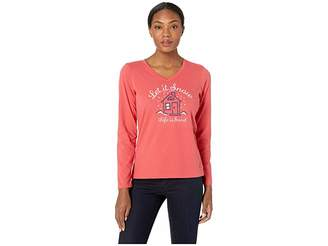 Life is Good Let It Snow Home Crusher Long Sleeve Vee