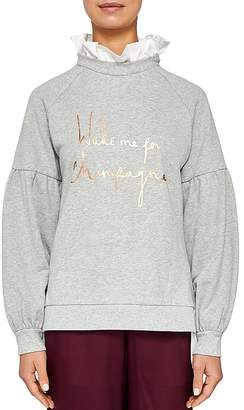 Ted Baker Ted Says Relax Kinslie Champagne Logo Layered-Look Sweatshirt