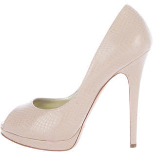 Casadei Embossed leather Peep-Toe Pumps $125 thestylecure.com