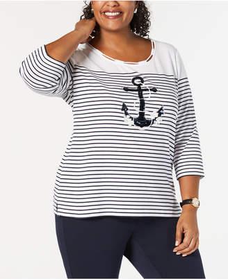 4ca1ab05f54 ... Karen Scott Plus Size Embellished Anchor Top