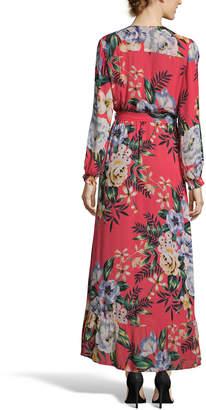 Label By 5twelve Floral-Print Surplice Long-Sleeve Faux-Wrap Tie-Waist Maxi Dress