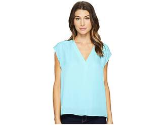 Heather Silk Boxy V-Neck Placket Blouse Women's Blouse