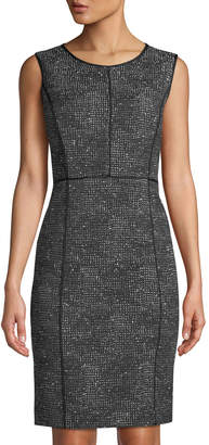 Lafayette 148 New York Mariana Grid-Print Sheath Dress, Black/Multi