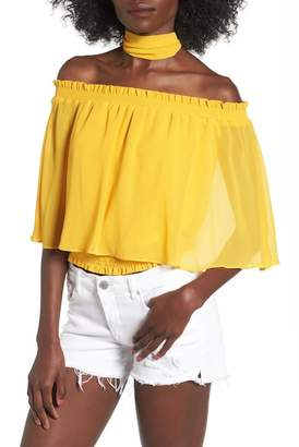 AFRM Lora Off-the-Shoulder Ruffle Blouse With Scarf