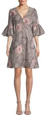 Aidan Mattox Printed Three-Quarter Sleeve Dress
