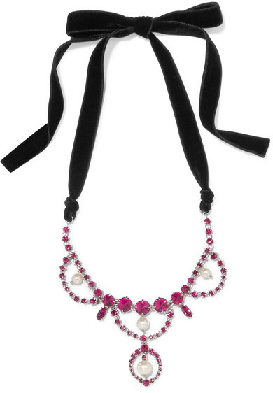 Miu Miu Miu Miu - Silver-tone, Velvet, Crystal And Faux Pearl Necklace - Pink