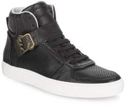 Roberto Cavalli Snake-Embossed Leather High Top Sneakers