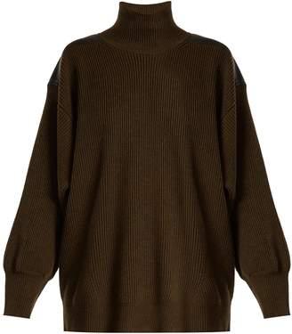 Stella McCartney Contrast-panel roll-neck wool sweater