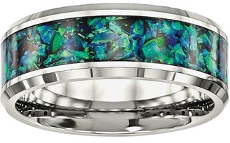 Primal Steel Primal Steel Stainless Steel Polished with Blue Imitiation Opal 8mm Men's Ring