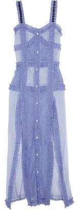 ATTICO Margarita Ruffled Striped Cotton And Silk-Blend Maxi Dress
