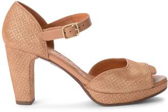 Chie Mihara Gilio Light-brown Printed Suede Heeled Sandal.