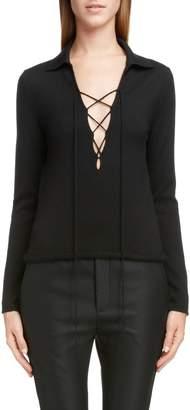 Saint Laurent Lace-Up Cashmere & Silk Sweater