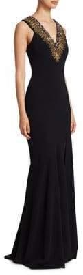 Theia Embellished V-Neck Gown
