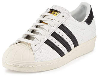 Adidas Superstar '80s Classic Snake-Cut Sneaker, White/Black $120 thestylecure.com