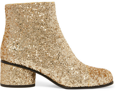 Marc JacobsMarc Jacobs - Camilla Glittered Leather Ankle Boots - Gold