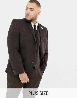 Gianni Feraud Plus slim fit brown donnegal wool blend suit jacket