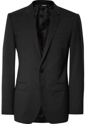 Dolce & Gabbana Black Slim-Fit Stretch-Virgin Wool Suit - Men - Black