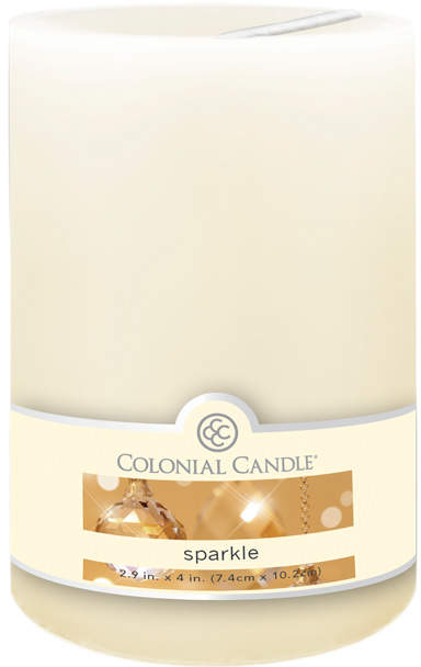 White Sparkle Scented Pillar Candle