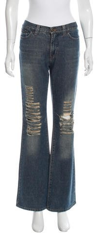Dolce & Gabbana D&G Distressed Wide-Leg Jeans