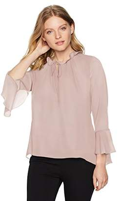 Ellen Tracy Women's Petite Full Sleeve Blouse with Tie