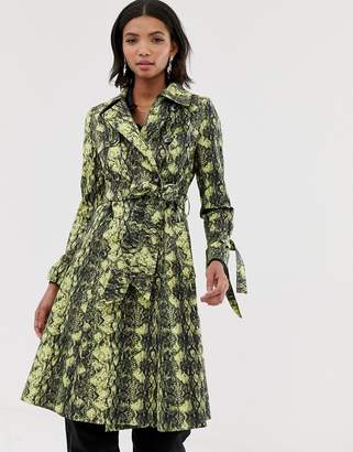 Helene Berman double breasted trench coat in snake print