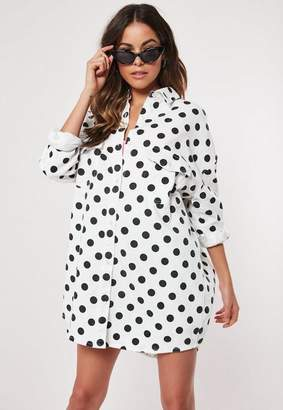 Missguided White Polka Dot Oversized Denim Dress