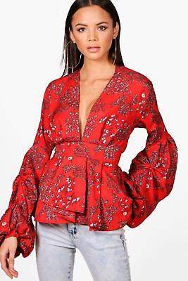 boohoo NEW Womens Tall Skye Floral Print Ruffle Sleeve Blouse in Red size 8