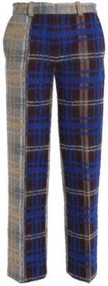 Acne Studios Paneled Checked Wool-Blend Straight-Leg Pants