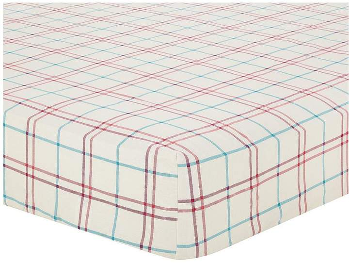 Brushed Cotton Check Fitted Sheet - Red