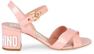 Moschino Logo Leather Sandals