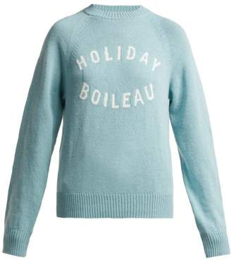 4678683d632 Holiday Boileau - Logo Intarsia Wool Sweater - Womens - Light Blue