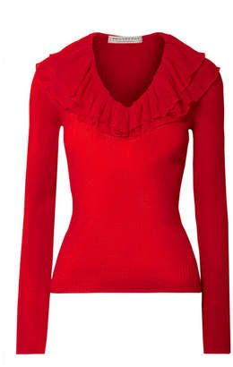 Philosophy di Lorenzo Serafini Ruffled Ribbed-knit Sweater - Red