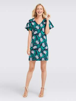 Draper James Hyacinth Floral Ruffle Sleeve Knit Dress