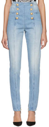 Balmain Blue Eight-Button Skinny Jeans