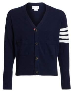 Thom Browne Bar Striped Sleeve Cashmere Cardigan