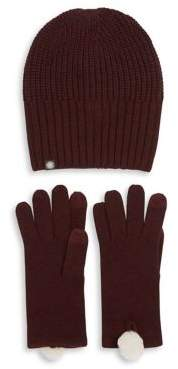 UGG Two-Piece Rib-Knit Hat and Gloves Set