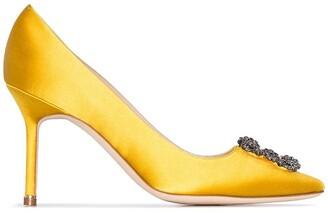 Manolo Blahnik yellow Hangisi 90 crystal buckle silk satin pumps