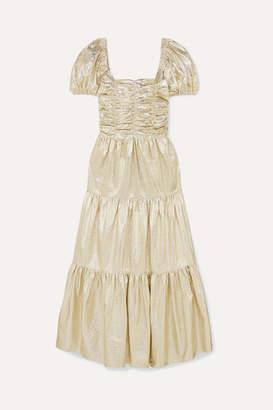 Georgia Alice Vegas Tiered Metallic Crinkled-vinyl Maxi Dress - Gold