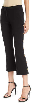 Pinko Cropped Boot-Cut Pants with Golden Buttons