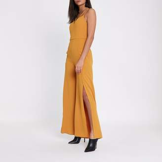 River Island Womens Mustard yellow wide split leg cami jumpsuit