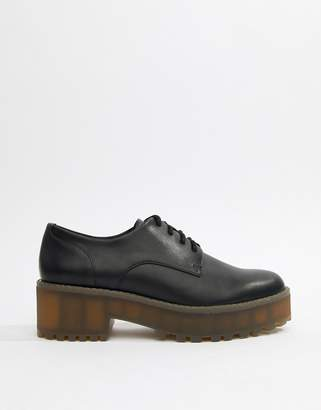 Monki lace up brogue in black