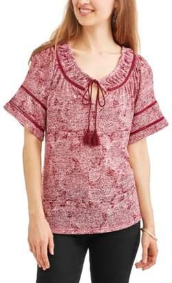 Cherokee Women's Short Sleeve Tie Front Swing Peasant Top