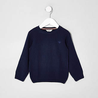River Island Mini boys blue knit wasp embroidered sweater