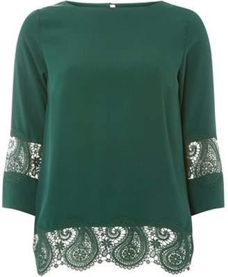 Dorothy Perkins Womens Dark Green Lace Hem Top