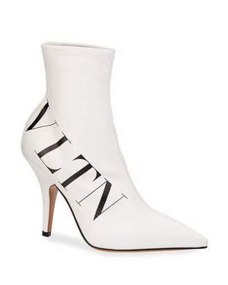 Valentino VLTN Logo Point-Toe Sock Booties