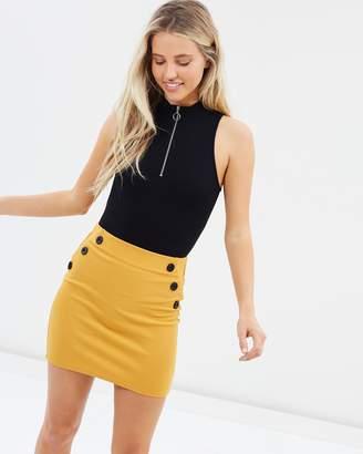 Miss Selfridge Button Waist Mini Skirt