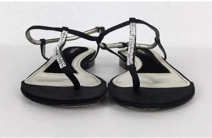 Dolce & Gabbana- Black Satin & Rhinestone Sandals Sz 6.5