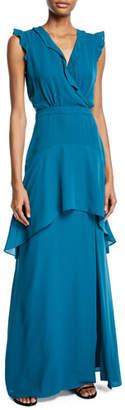 Parker Black Jaden Sleeveless Ruffle-Trim Dress