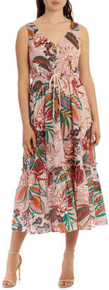 Dress Printed with Gathered Waist