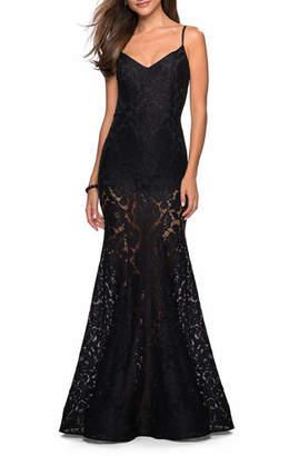 La Femme V-Neck Stretch Lace Mermaid Dress with Sheer Skirt & Shorts
